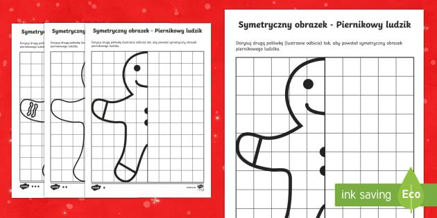 Karty Symetryczny obrazek Piernikowy ludzik zróżnicowany poziom - ludzik, piernik, ciastek, bajka, shrek, święta, gwiazdka, boże barodzenie, grudzień., pierniczek