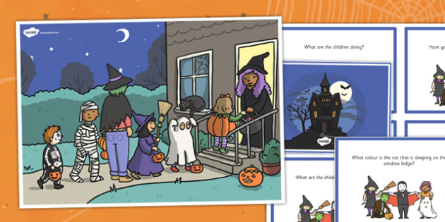 Halloween Scene and Question Cards - halloween, scene, question, cards