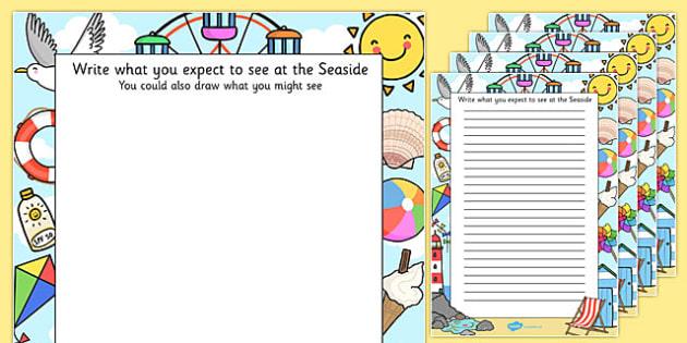 Seaside Trip Themed Writing Frames - seaside trip, writing frames