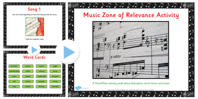 Zone of Relevance Music Describing Activity Pack - music, describe
