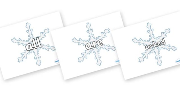 Tricky Words on Snowflakes - Tricky words, snowflake, DfES Letters and Sounds, Letters and sounds, display, words