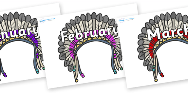 Months of the Year on Headdresses - Months of the Year, Months poster, Months display, display, poster, frieze, Months, month, January, February, March, April, May, June, July, August, September