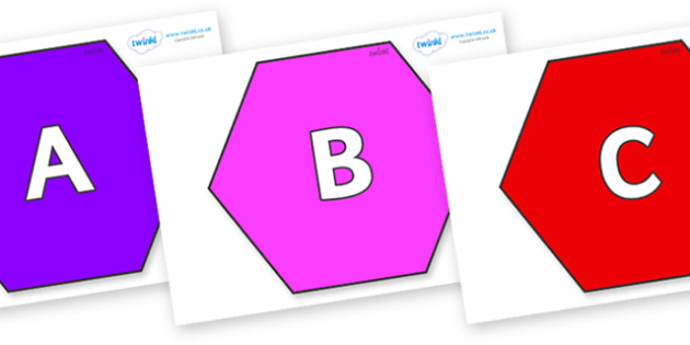 A-Z Alphabet on Hexagons - A-Z, A4, display, Alphabet frieze, Display letters, Letter posters, A-Z letters, Alphabet flashcards