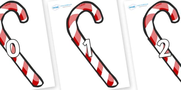 Numbers 0-50 on Candy Canes (Plain) - 0-50, foundation stage numeracy, Number recognition, Number flashcards, counting, number frieze, Display numbers, number posters