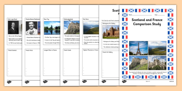 Scotland and France Comparison Study Research Booklet - CfE, Comparison Study,people and place, Scotland, France
