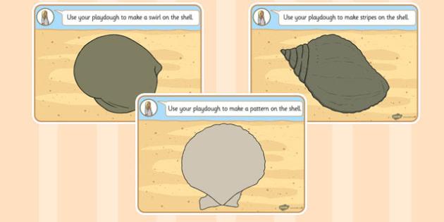 British Seashell Playdough Mats - british, seashell, playdough
