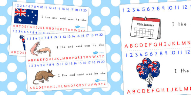 Australia Day Combined Number Alphabet Strips - australia, strips