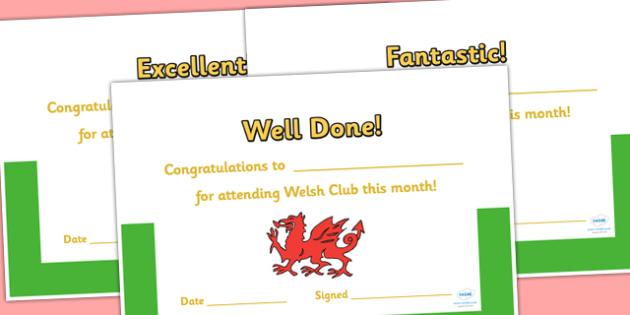 Welsh Club Certificates - welsh, wales, welsh club, award certificate, awards, certificates, reward certificates, award templates, behaviour management