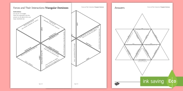 Forces and Their Interactions Tarsia Triangular Dominoes - Tarsia, gcse, physics, forces, force, weight, gravity, work done, scalar, vector, contact force, non