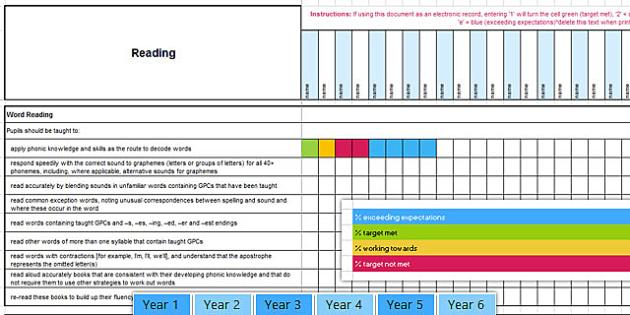 Year 1-6 English Reading Assessment Spreadsheet - years, 1, 2, 3, 4, 5, 6, english, reading, read, assessment, assess, spreadsheet