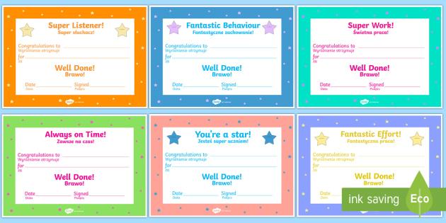 End of term Award Certificates English/Polish -  scroll, reward, certificate, medal, rewards, school ,Polish-translation