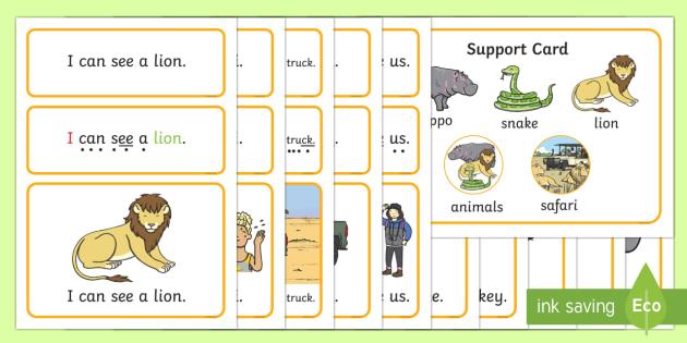 EYFS Safari Simple Sentence Cards - Safari, Sentences, sentence cards, reading, phonics, people who help us, eyfs, literacy