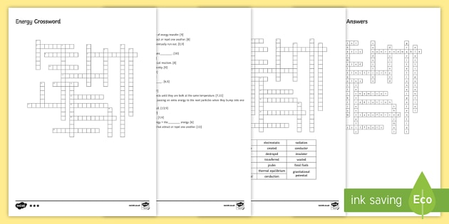 KS3 Energy Crossword