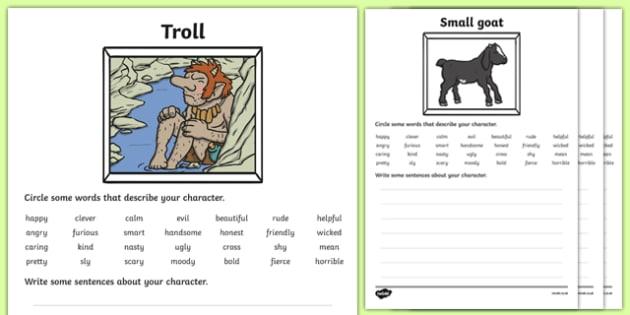 Billy Goats Gruff Character Description Sheets - Three Billy Goats Gruff, traditional tales, description sheet, worksheet, describing, description, tale, fairy tale, goat, billy goat, troll, sweet grass, bridge