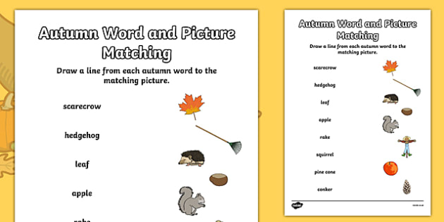 Autumn Word and Picture Matching Worksheet - autumn, matching worksheet, matching, autumn worksheet, word and picture matching, matching games, activites