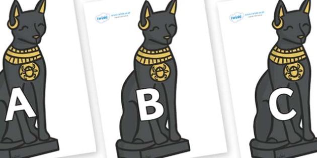 A-Z Alphabet on Egyptian Cats - A-Z, A4, display, Alphabet frieze, Display letters, Letter posters, A-Z letters, Alphabet flashcards