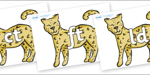 Final Letter Blends on Leopards - Final Letters, final letter, letter blend, letter blends, consonant, consonants, digraph, trigraph, literacy, alphabet, letters, foundation stage literacy