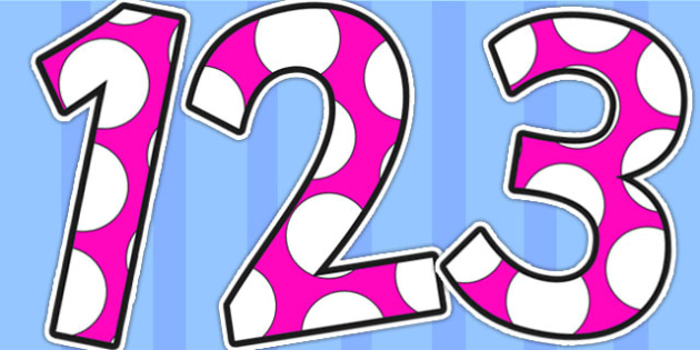 Pink and White Spots Display Numbers - display numbers, pink, white