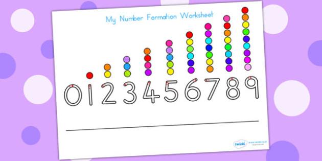 Number Formation Worksheet - number formation, motor skills, math, overwriting