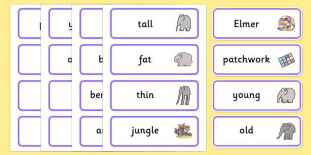 Word Cards to Support Teaching on Elmer - Elmer, Elmer the elephant, resources, Elmer story, patchwork elephant, PSHE, PSE, David McKee, colours, patterns, story, story book, story book resources, story sequencing, story resources, Word cards, Word C