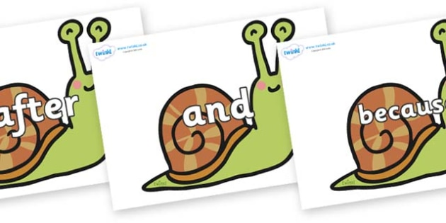 Connectives on Snails - Connectives, VCOP, connective resources, connectives display words, connective displays