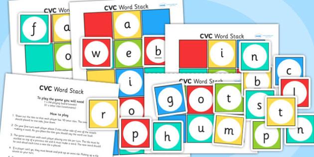 CVC Word Stack Game - CVC, word stack, game, word game, CVC game