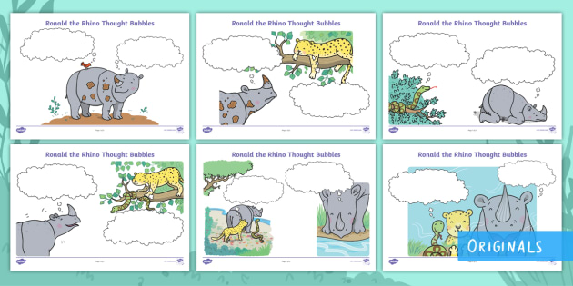 Ronald the Rhino Thought Bubble Activity Sheets - Children's Books, Ronald, Ronald the Rhino, story, friendship, unique, leopard, python, reflection,
