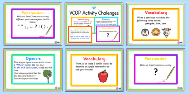 VCOP Activity Challenge PowerPoint - vocab, connectives, openers