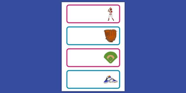 Baseball Themed Labels - usa, america, baseball, mlb, labels, display labels, display
