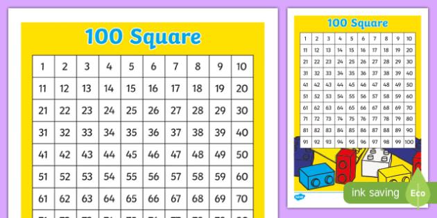 Building Bricks Number Square - building bricks, lego, number square, number, square, 100, maths, mathematics