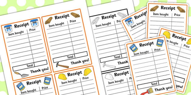 Builders Yard Role Play Receipt Writing Frame - receipt, roleplay