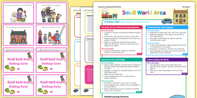 Small World Area Continuous Provision Plan Poster and Challenge Cards Pack Nursery FS1 - continuous, world