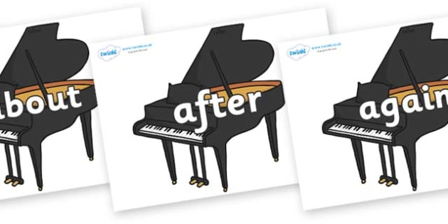 KS1 Keywords on Baby Grand Pianos - KS1, CLL, Communication language and literacy, Display, Key words, high frequency words, foundation stage literacy, DfES Letters and Sounds, Letters and Sounds, spelling