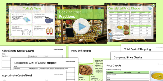 Cooking Cost Fractions - KS3, KS2, Maths, fractions, ratio, money, calculation, cooking, shopping, functional skills