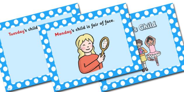 Monday's Child PowerPoint - mondays child, monday's child, nursery rhymes, nursery rhyme powerpoint, monday's child nursery rhyme, days of the week