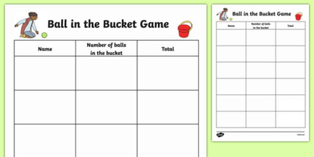 Ball in the Bucket Scoresheet - EYFS, Early Years, counting game, maths, representing numbers, mark making
