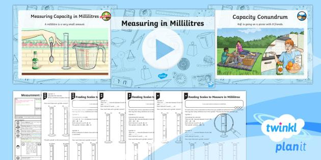 PlanIt Y3 Measurement Lesson Pack Volume and Capacity (1) - Measurement, measure, volume, capacity, scale, interval, measuring cylinder, litre, millilitre, Y3,