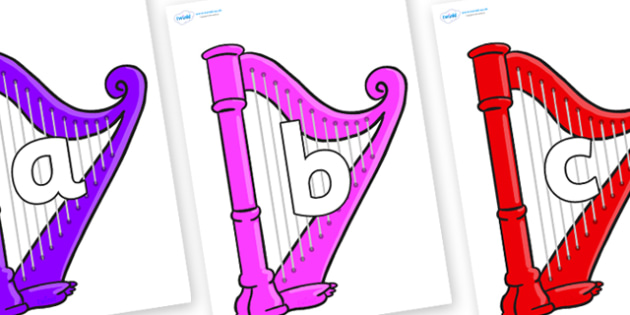Phoneme Set on Harps - Phoneme set, phonemes, phoneme, Letters and Sounds, DfES, display, Phase 1, Phase 2, Phase 3, Phase 5, Foundation, Literacy