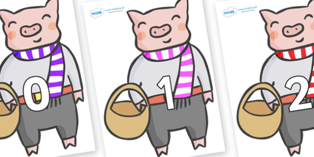 Numbers 0-100 on Little Piggy - 0-100, foundation stage numeracy, Number recognition, Number flashcards, counting, number frieze, Display numbers, number posters