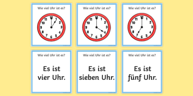 Telling the Time in German Loop Cards