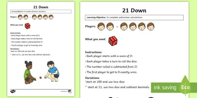 21 Down Maths Game - Maths Games, subtraction, 21