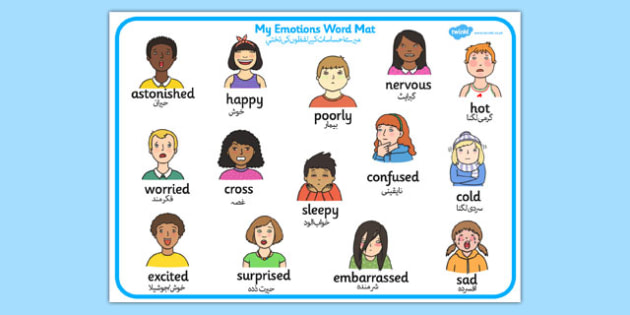My Emotions Word Mat Urdu Translation - urdu, Word mat, writing aid, emotions, Feelings, All about me, ourselves, feelings display, feelings banner, emotions display, expression, happy, sad, angry, scared