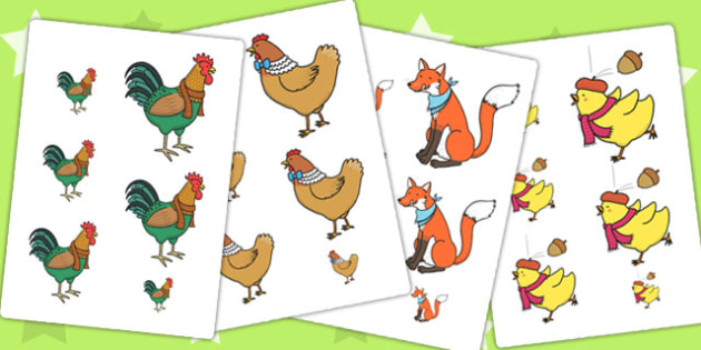 Chicken Licken Size Ordering - size, shape, order, stories, books