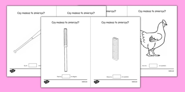 Arkusz Mierzenie w cm po polsku - matematyka, miara, liczenie - centimetre, centimetres, measure, measurement, ssm, length, ruler, polish, poland, eal, maths, worksheet