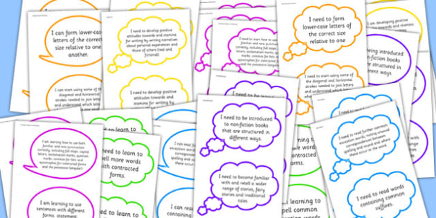 2014 Curriculum Reading Writing Assessment I Can Speech Bubbles