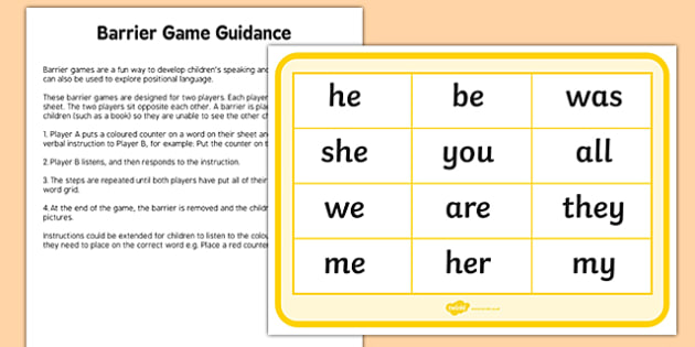 Phase 3 Tricky Words Counters Barrier Game Activity Sheet, worksheet