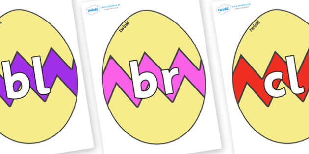 Initial Letter Blends on Easter Eggs (Cracked) - Initial Letters, initial letter, letter blend, letter blends, consonant, consonants, digraph, trigraph, literacy, alphabet, letters, foundation stage literacy