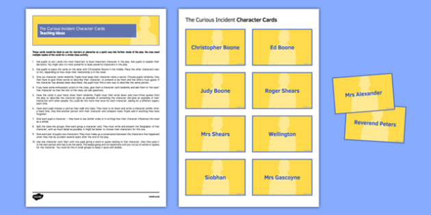 The Curious Incident Character Cards Pack - Curious Incident, play, drama, GCSE, AQA, Christopher Boone, English Literature