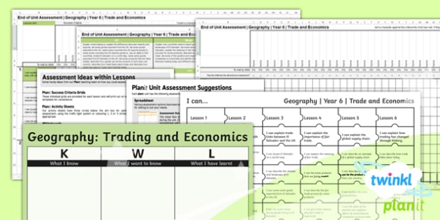 Geography: Trade and Economics Year 6 Unit Assessment Pack
