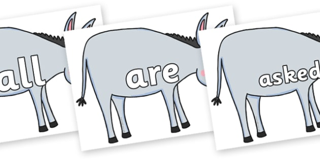 Tricky Words on Hullabaloo Donkey to Support Teaching on Farmyard Hullabaloo - Tricky words, DfES Letters and Sounds, Letters and sounds, display, words
